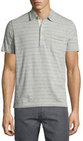 Billy Reid Striped Short-Sleeve Polo Shirt, Light Gray