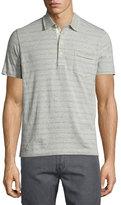 Billy Reid Striped Short-Sleeve Polo Shirt, Light Gray