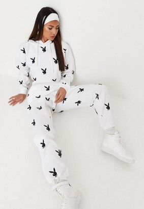 Missguided Playboy X White Bunny Print Joggers