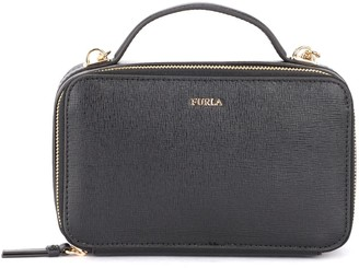 Furla Babylon M Bandolier Bag In Black Leather With Shoulder Strap And Handle