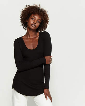 Splendid Black U-Neck Long Sleeve Top