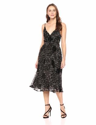 ASTR the Label Women's Jane Sleeveless V Neck Velvet Floral Midi Dress