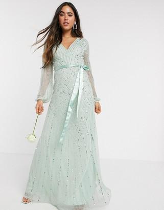 Amelia Rose Bridesmaid embellished wrap maxi dress in sage