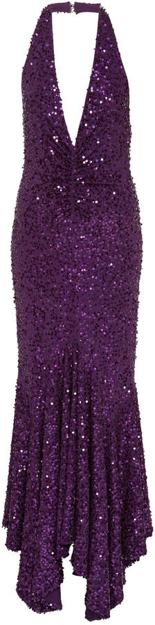 Michael Kors Collection Pleated Sequined Halter Dress Size: 0