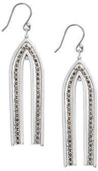 Lucky Brand Celestial Simplicity Arches Silvertone & Pave Crystal Drop Earrings