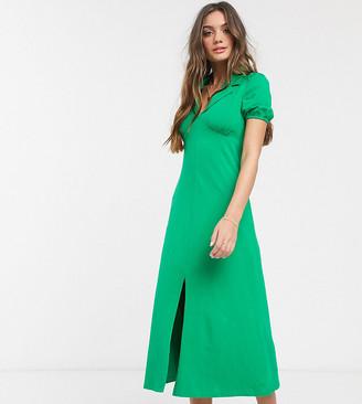 ASOS DESIGN Petite ultimate midi tea dress with collar in green
