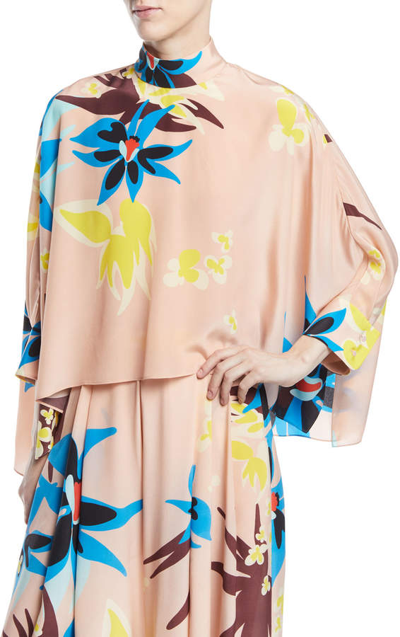 DELPOZO Mock-Neck Long-Sleeve Floral-Print Silk Swing Top