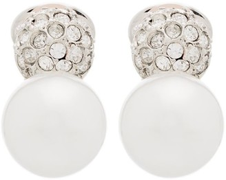 Kenneth Jay Lane Pave Crystal Pearl Clip Earrings
