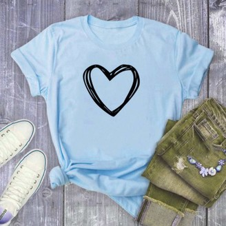 Ceally Love Tee T-Shirt Fashion Women Casual Short Sleeve Blouse Heart Splash Print O-Neck Tops Blue