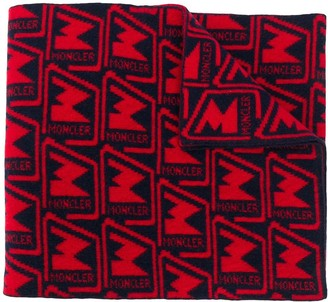 Moncler Logo Pattern Knitted Scarf