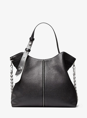 MICHAEL Michael Kors MK Downtown Astor Large Pebbled Leather Shoulder Bag - Black/white - Michael Kors