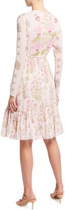 Giambattista Valli Floral Print Ruffle Hem Silk Dress