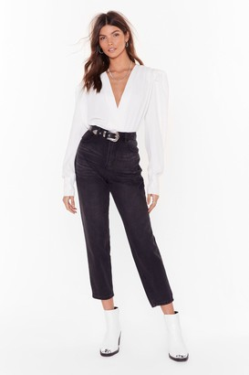 Nasty Gal Womens Are You Gonna Say High-Waisted Cropped Jeans - Black - 6
