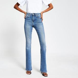 River Island Womens Blue high rise bootcut flare denim jeans