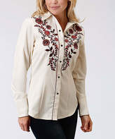 Roper White Floral Button-Up