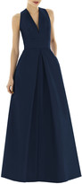 Alfred Sung V-Neck Sleeveless A-Line Gown w/ Inverted Pleat