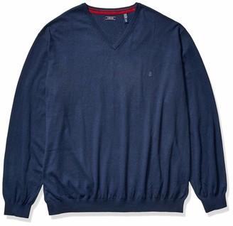 Izod Men's Big Premium Essentials Solid V-Neck 12 Gauge Sweater