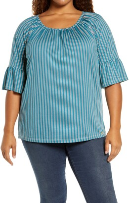 MICHAEL Michael Kors Prep Stripe Gathered Top