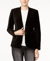 Tommy Hilfiger Velvet Collarless Blazer, Only at Macy's