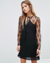Fashion Union Lace Dress With Choker Neck Tie
