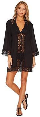 La Blanca Island Fare V-Neck Tunic Cover-Up (Black) Women's Swimwear