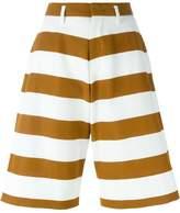 NÂo21 striped wide leg knee-length shorts