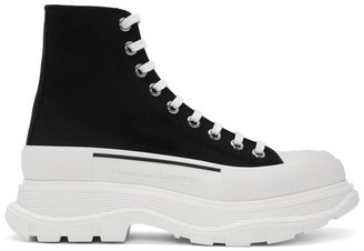 Alexander McQueen Black and White Canvas Lace-Up Boots