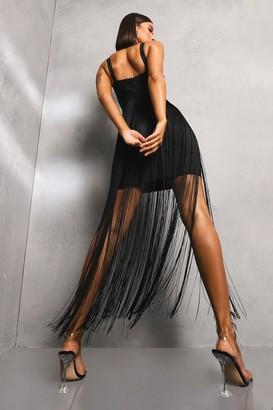 boohoo Premium Bangage Pannelled And Tassel Dress