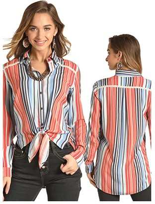 Rock and Roll Cowgirl Long Sleeve Button Stripe Print B4B4507 (Coral) Women's Clothing