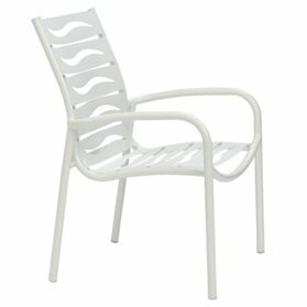 Millennia Stacking Patio Dining Chair with Cushion Tropitone Finish: Shell, Seat Color: Jade Vinyl