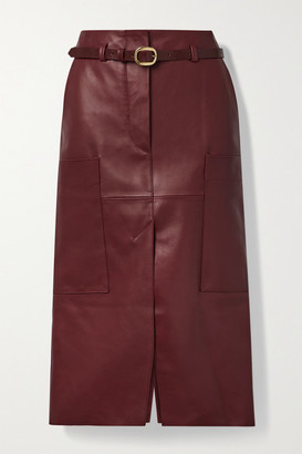 Petar Petrov Randy B Belted Leather Midi Skirt - Red