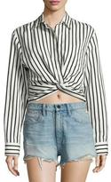 Alexander Wang Long-Sleeve Striped Poplin Blouse, Black/White