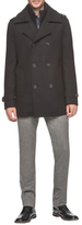 Andrew Marc Harry Wool Leather Trimmed Peacoat