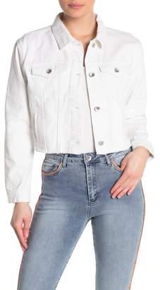 Tractr Solid Cropped Denim Trucker Jacket