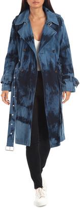 AVEC LES FILLES Tie-Dye Washed Denim Trench Coat