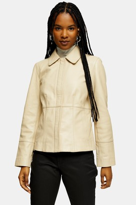 Topshop Womens Leather Fitted Jacket - Buttercup