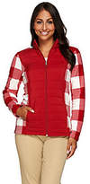 Denim & Co. Printed Fleece Zip Front Jacket w/Quilted Front