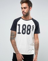 Lee Crew Neck T-Shirt Raglan 1889 Print in Beige