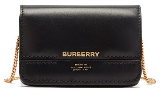 Burberry Jody Logo-print Chain-strap Leather Wallet - Black