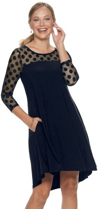Nina Leonard Women's Sheer Polka-Dot High-Low Dress