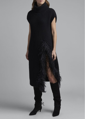 Valentino Fringed Wool-Cashmere Short-Sleeve Sweater Dress