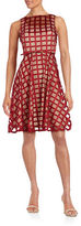 Gabby Skye Grid Mesh Fit and Flare Dress
