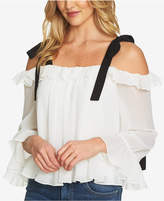 CeCe Ruffle-Trim Tie-Sleeve Top