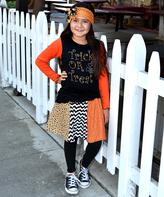 Beary Basics Orange & Black Candy Corn Tee & Skirt - Toddler & Girls