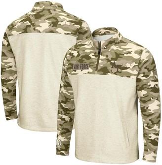 Colosseum Men's Oatmeal Air Force Falcons OHT Military Appreciation Desert Camo Quarter-Zip Pullover Jacket