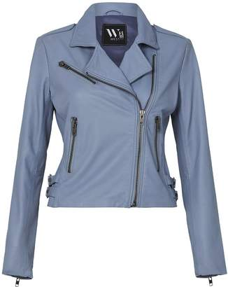 West 14th The New Yorker Motor Jacket Steel Blue Leather