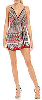 Angie Border-Printed Faux-Wrap Romper