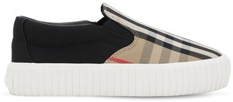 Burberry Check Cotton Canvas Slip-On Sneakers
