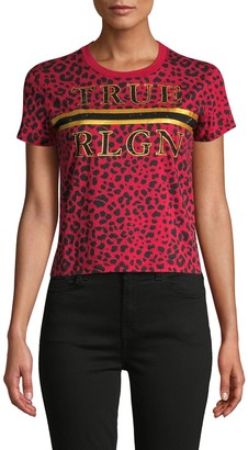 True Religion Leopard-Print Logo T-Shirt