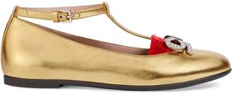 Gucci Children's metallic leather ballet flat with bow